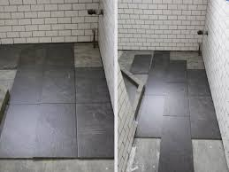 subway tile bathroom black grout amazing tile