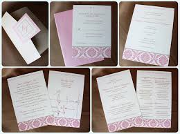 pocket fold pink damask and metallic chagne pocketfold invitations