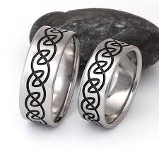 titanium wedding ring sets celtic titanium his and hers wedding band set with black