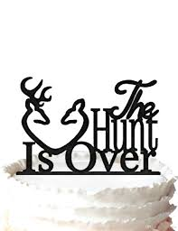 2017 the hunt is over cake topper rustic wedding cake topper deer