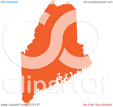 Maine State Map by Clipart Of An Orange Silhouetted Map Shape Of The State Of Maine