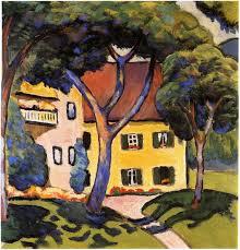 house in a landscape august macke