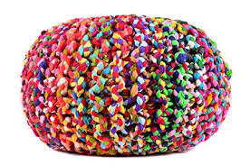 amazon com large multicolor hand knitted pouf ottoman cotton