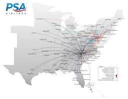Map Of The Eastern United States by Flight Route Map Fly With Us Psa Airlines