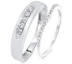 white gold wedding band sets cut 1 30 carat tw pair diamond wedding band set in 14k white