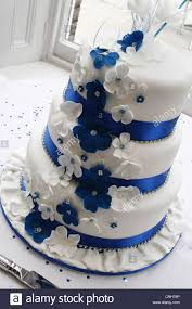 blue and white wedding cake west retford hotel north road