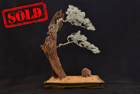 147 two trees on bog wood bonsai wire tree sculpturesold bonsire