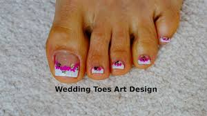 tutorial beginners wedding toes art design french pedicure magenta