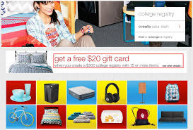 free 20 target gift card for creating a 500 college registry
