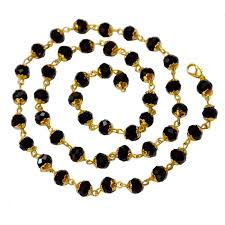 chain beaded necklace images Buy men style 5mm bead crystal gold plated 25 inch long black jpg