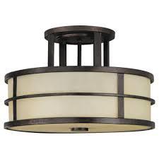 Murray Feiss Light Feiss Fusion 2 Light Grecian Bronze Semi Flush Mount Light