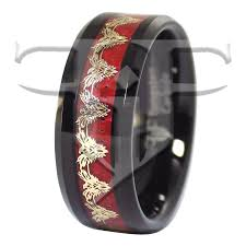 titanium tungsten rings images Gold phoenix firebird red carbon fiber black tungsten ring jpg