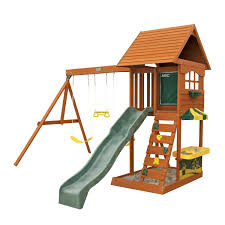 amazon com new fun stuff backyard cedar playset summit gym sandy