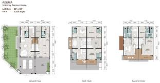 Floor Plan Two Storey by Floor Plan Double Storey Terrace House House Plans