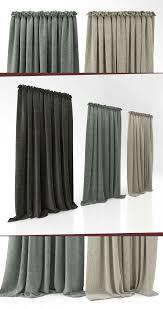 Khaki Curtains 3d Model Three Curtains Cgtrader