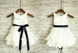 taffeta ruffle flower dress navy blue sash wedding easter