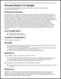 Power Resume Sample by Ground Worker Cv Sample Myperfectcv