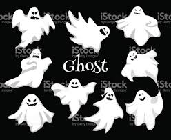 vector ghosts cartoon spooky ghost character vector set spooky and scary holiday