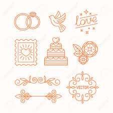 for wedding vector linear design elements icons and frame for wedding