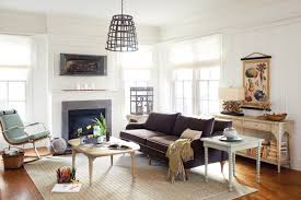 living room feminine design with stone fireplace install on