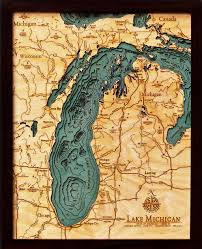 Port Huron Michigan Map by Custom Wood Charts Of Lake Michigan From Carved Lake Art Nautical