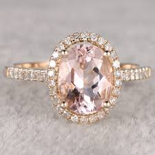 yellow gold oval engagement rings oval morganite and halo engagement ring in 14k yellow gold