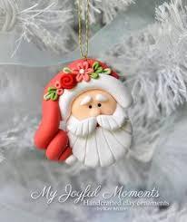 polymer clay world santa claus ornament green hat