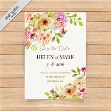 wedding invitations vector wedding invitation with watercolor flowers vector free