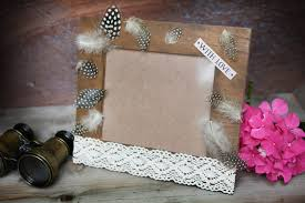 photo frame with feathers wooden photo frame handmade