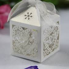 wedding box white heart floral cut wedding favor box ewfb035 as