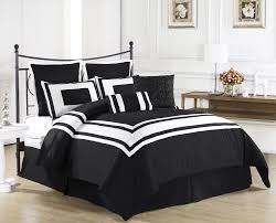 Black And White Bedroom Furniture by Good Looking Black And White Comforter On Wooden Bed Frame Which