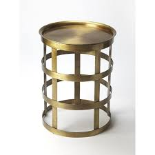 openwork industrial round accent table