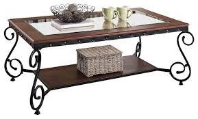 Metal And Glass Coffee Table Cherry Beading Design Metal Frame Glass Top Wood Shelf Coffee