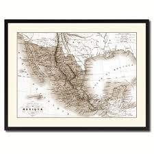 mexico vintage sepia map home decor wall art bedroom liviingroom