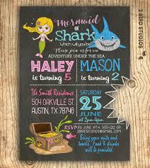 mermaid u0026 shark sibling invitation dual birthday invitation