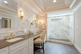 White And Brown Bedroom White And Brown Master Bathroom With Gold Accents Transitional