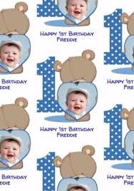 photo upload cartoon bear with blue heart frame 1st birthday card
