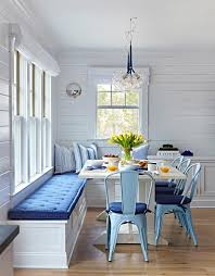 Blue Table L Bungalow Dining Space With White Trestle Dining Table And Blue