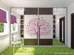 murals with pink color in bedroom with white wall paint
