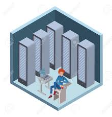 data center icon system administrator man sitting at the