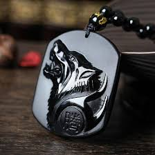 free necklace images Drop shipping black obsidian carving wolf head amulet pendant free jpg