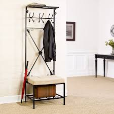 Entryway Storage Bench With Coat Rack Sei Black Metal Entryway Storage Bench With Coat Rack