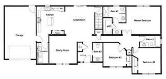 3 bedroom 2 bath open modular floor plan created and designed
