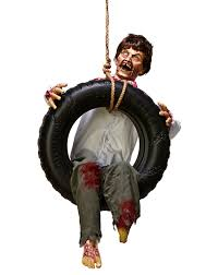 tire swing zombie boy halloween decoration animated animatronic