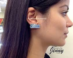 Name Plate Earrings Name Stud Earrings Etsy
