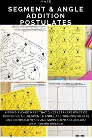 Angle Addition Postulate Worksheet Answers Segment And Angle Addition Postulates Maze Maze Secondary