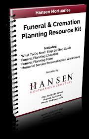 funeral planning checklist resource kit hansen mortuaries