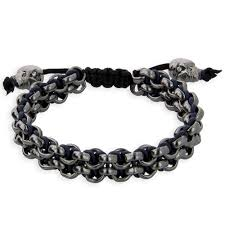skull bracelet charms images Ruthenium navy leather sport links bracelet with buddha or skull jpg