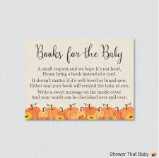 pumpkin baby shower printable bring a book instead of a card