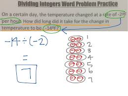 multiplying and dividing integers word problem practice math